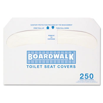 BWK K5000 Boardwalk® Premium Toilet Seat Covers Half-fold covers fit all popular seat cover dispensers. 250 covers per box. Includes 20 packs of 250 toilet seat covers each. PREMIUM HALF-FOLD TOILET SEAT COVERS
